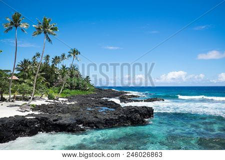 Idyllic Tropical Beach With Blue Sea And Sky At Lefaga, Matautu, Upolu Island, Western Samoa, South