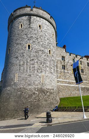Windsor, Uk - April 2018: Curfew Tower, The Belfry Of The College Of St George At Windsor Castle, Ro