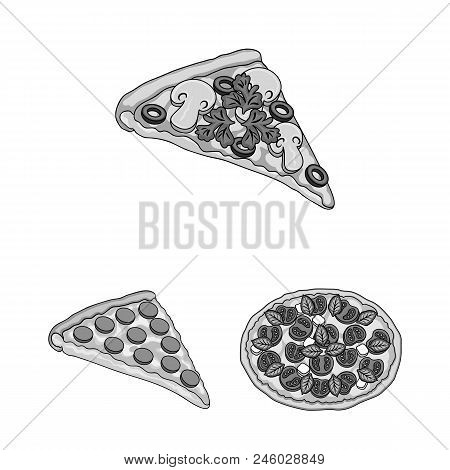 Different Pizza Monochrome Icons In Set Collection For Design.pizza Food Vector Symbol Stock  Illust