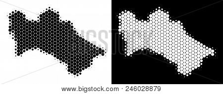 Pixel Halftone Turkmenistan Map. Vector Geographic Map On White And Black Backgrounds. Abstract Comp