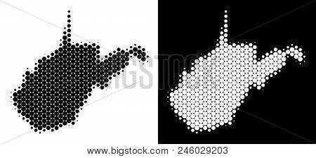 Pixel Halftone West Virginia State Map. Vector Geographic Scheme On White And Black Backgrounds. Abs