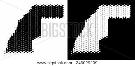 Pixel Halftone Western Sahara Map. Vector Geographic Scheme On White And Black Backgrounds. Abstract