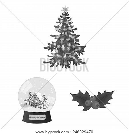 Christmas Attributes And Accessories Monochrome Icons In Set Collection For Design. Merry Christmas