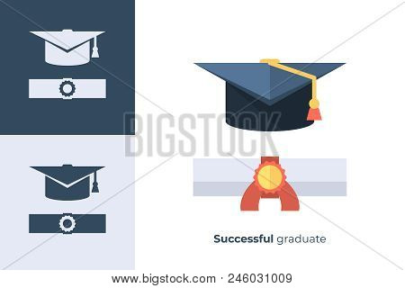 Vector Icon Of Graduation Cap In Flat Style. Illustration Of Square Academic Cap And Diploma.