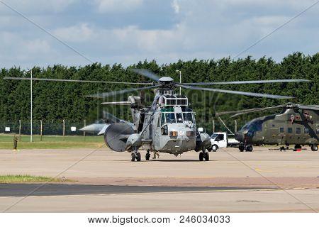 Raf Waddington, Lincolnshire, Uk - July 5, 2014: Royal Navy Fleet Air Arm Westland Sea King Asac.7 A