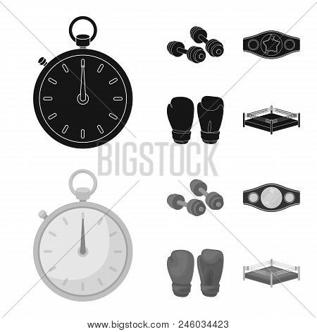 Boxing, Sport, Stopwatch, Watch .boxing Set Collection Icons In Black, Monochrome Style Vector Symbo