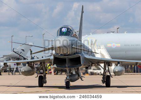 Raf Waddington, Lincolnshire, Uk - July 7, 2014: German Air Force (luftwaffe) Eurofighter Ef-2000 Ty