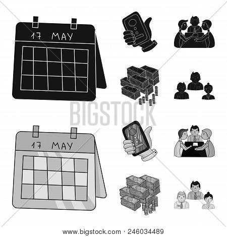 Calendar, Telephone Conference, Agreement, Cash.business-conference And Negotiations Set Collection