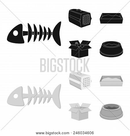 Fish Bone, Container For An Animal, Cat Toilet, Cat In A Box. Cat Set Collection Icons In Black, Mon