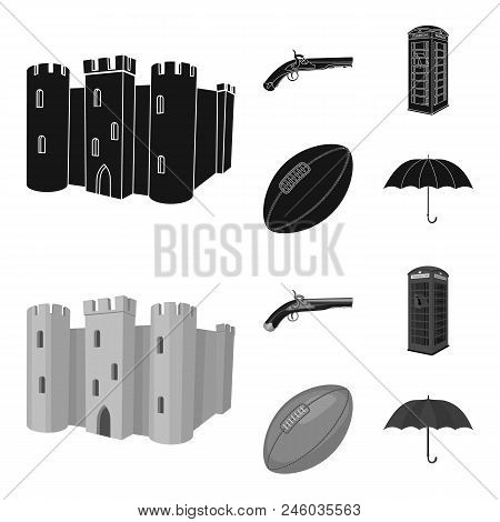 Breed, Dog, Teapot, Brewer .england Country Set Collection Icons In Black, Monochrome Style Vector S