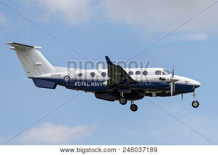 Raf Waddington, Lincolnshire, Uk - July 5, 2014: Royal Navy Beechcraft King Air 350cer (avenger T1)
