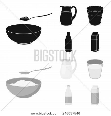 Bowl Of Cottage Cheese, A Glass, A Bottle Of Kefir, A Jug. Moloko Set Collection Icons In Black, Mon