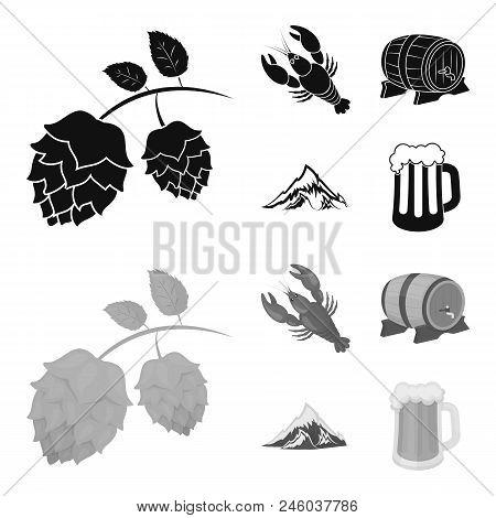 Alps, A Barrel Of Beer, Lobster, Hops. Oktoberfest Set Collection Icons In Black, Monochrome Style V