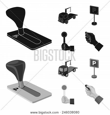 Transmission Handle, Tow Truck, Parking Sign, Stop Signal. Parking Zone Set Collection Icons In Blac