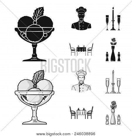 Ice Cream With Fruit, Chef, Candle And Glasses, A Covered Table.restaurant Set Collection Icons In B