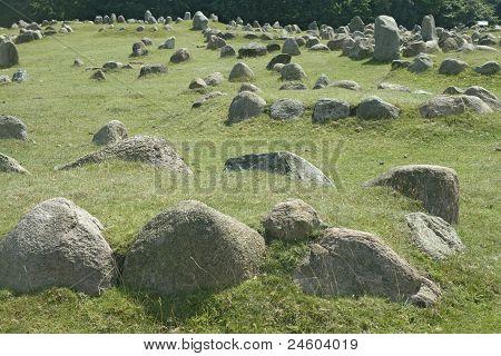 Ancient stone viking graves in Aalborg Denmark poster