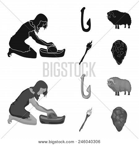 Cattle, Catch, Hook, Fishing .stone Age Set Collection Icons In Black, Monochrome Style Vector Symbo