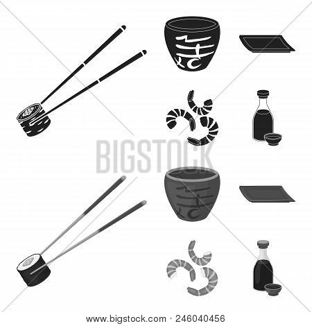 Sticks, Shrimp, Substrate, Bowl.sushi Set Collection Icons In Black, Monochrome Style Vector Symbol