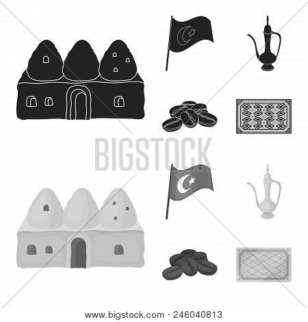 House Hive, National Flag, Coffee Pot Copper, Grains Coffee.turkey Set Collection Icons In Black, Mo