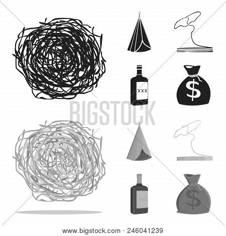 Roll-field, Indian Wigwam, Lasso, Whiskey Bottle. Wild West Set Collection Icons In Black, Monochrom