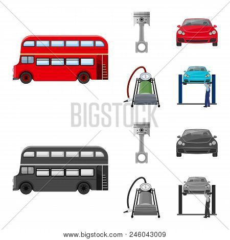 Car On Lift, Piston And Pump Cartoon, Monochrome Icons In Set Collection For Design.car Maintenance
