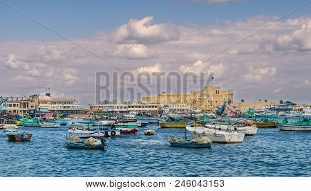 Alexandria, Egypt - December 3 2015: Old East Harbor Of Alexandria City At The Mediterranean Sea Wit