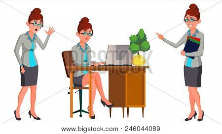 Office Worker Vector. Woman. Secretary, Accountant. Successful Officer, Clerk, Servant. Adult Busine