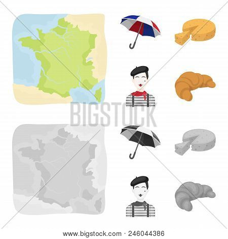 Umbrella, Traditional, Cheese, Mime .france Country Set Collection Icons In Cartoon, Monochrome Styl