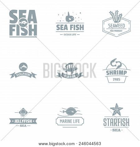Catch Fish Logo Set. Simple Set Of 9 Catch Fish Vector Logo For Web Isolated On White Background