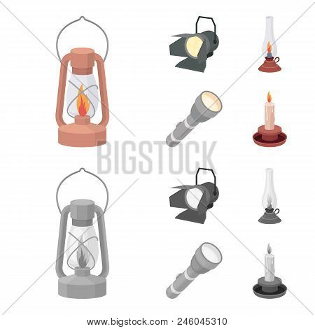 Searchlight, Kerosene Lamp, Candle, Flashlight.light Source Set Collection Icons In Cartoon, Monochr