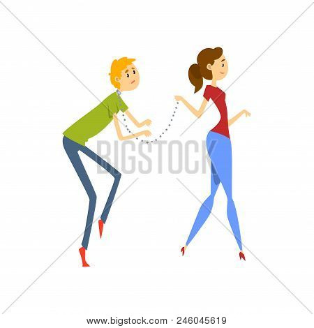 Wife Leading Her Henpecked Husband On A Leash, Husband Dominated By Wife Cartoon Vector Illustration