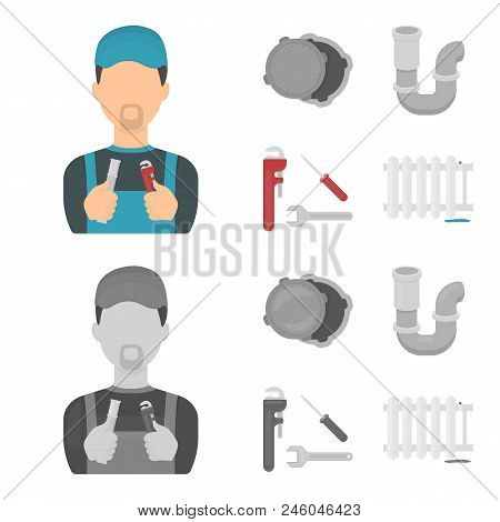 Sewage Hatch, Tool, Radiator.plumbing Set Collection Icons In Cartoon, Monochrome Style Vector Symbo