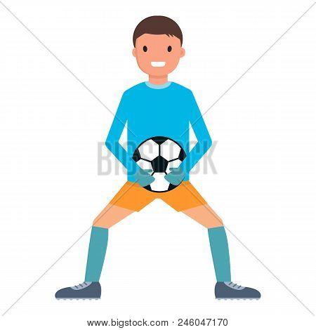 Catch Ball Goalkeeper Icon. Flat Illustration Of Catch Ball Goalkeeper Vector Icon For Web Design