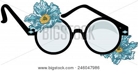 Scalable Vectorial Representing A Round Glasses With Flowers, Element For Design, Illustration Isola