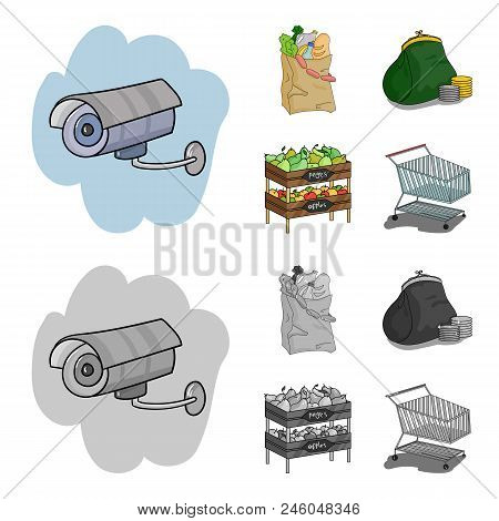 Sausages, Fruit, Cart .supermarket Set Collection Icons In Cartoon, Monochrome Style Vector Symbol S