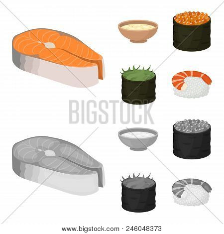 Bowl Of Soup, Caviar, Shrimp With Rice. Sushi Set Collection Icons In Cartoon, Monochrome Style Vect