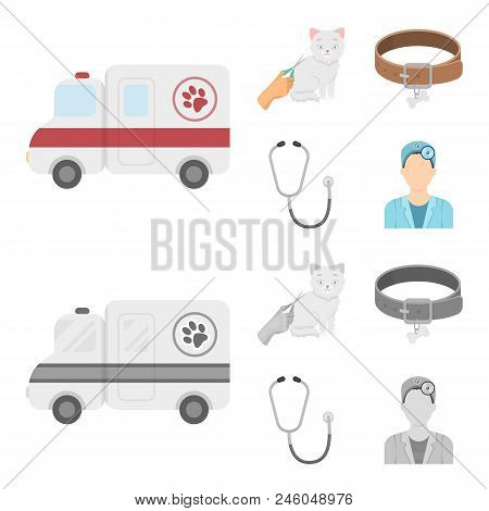 Collar, Bone, Cat, Haircut .vet Clinic Set Collection Icons In Cartoon, Monochrome Style Vector Symb
