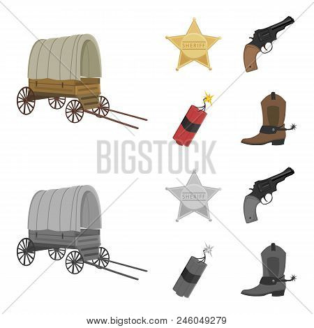 Star Sheriff, Colt, Dynamite, Cowboy Boot. Wild West Set Collection Icons In Cartoon, Monochrome Sty