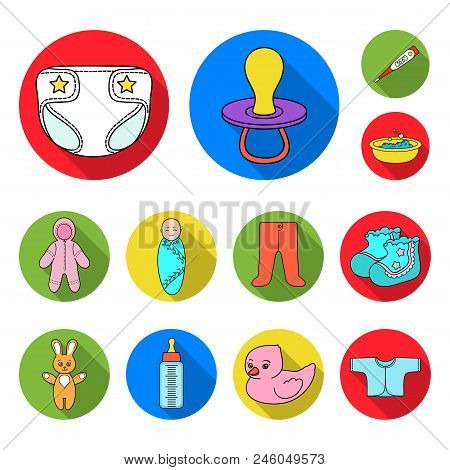 Birth Of A Baby Flat Icons In Set Collection For Design. Newborn And Accessories Vector Symbol Stock