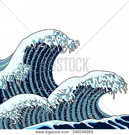 Vector Japanese Waves Illustration, Traditional Asian Art, Painting, Hand Drawn Sea. Blue Waves Illu