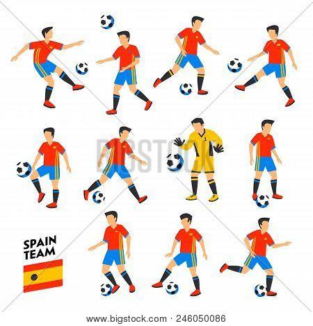 Spain Football Team. Spain Soccer Players. Full Football Team, 11 Players. Spanish Soccer Players On