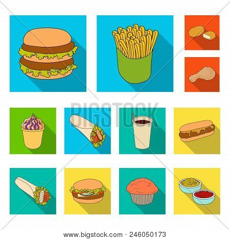 Fast Food Flat Icons In Set Collection For Design.food From Semi-finished Products Vector Symbol Sto