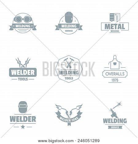 Metallically facility logo set. Simple set of 9 metallically facility vector logo for web isolated on white background poster