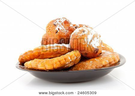 Plate With Dutch Donut And Apple Turnovers