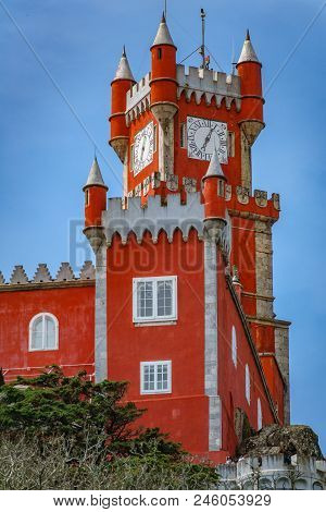 Rear View Of The Impressive Red Tower Of Palace Da Pena Over The Hill In Sintra, Lisbon. Portugal