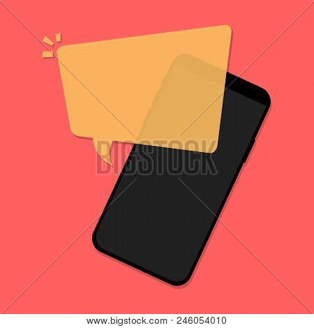 Flat Design Vector Illustration Of Modern Mobile Phone With Empty Speech Bubble, Message Box. Concep