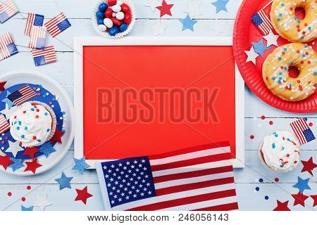 Happy Independence Day 4th July Mockup With American Flag And Sweet Foods, Decorated With Stars And