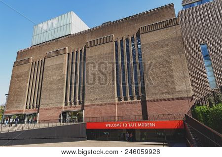 London, Uk - April 2018: Exterior Building Of The Switch House Now Tate Modern, Museum Of Modern And