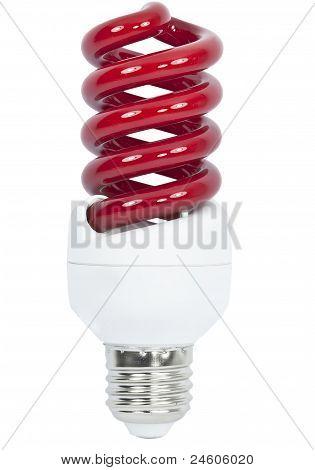 Rote Energiesparlampe