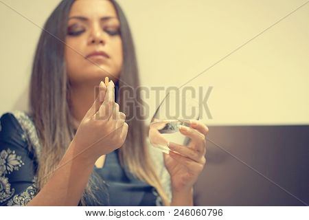 Sick Young Woman Holding Pill Glass Of Water, Depressed Unhealthy Woman, About To Take Antidepressan
